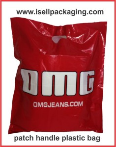 Plastic bags with patch handle for OMG Jeans