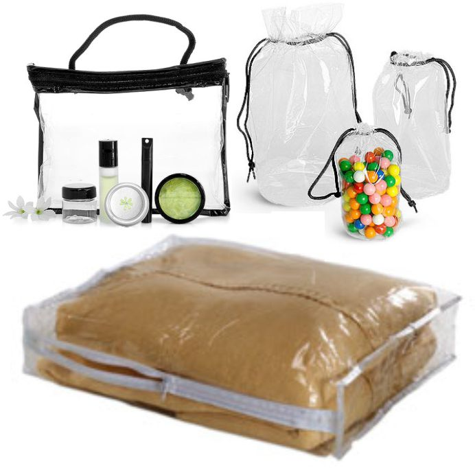 Vinyl Bags Cosmetic Pouches Zippered Bags