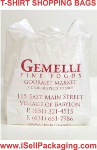 Custom printed t-shirt grocery bags and plastic shopping bags for Gemelli