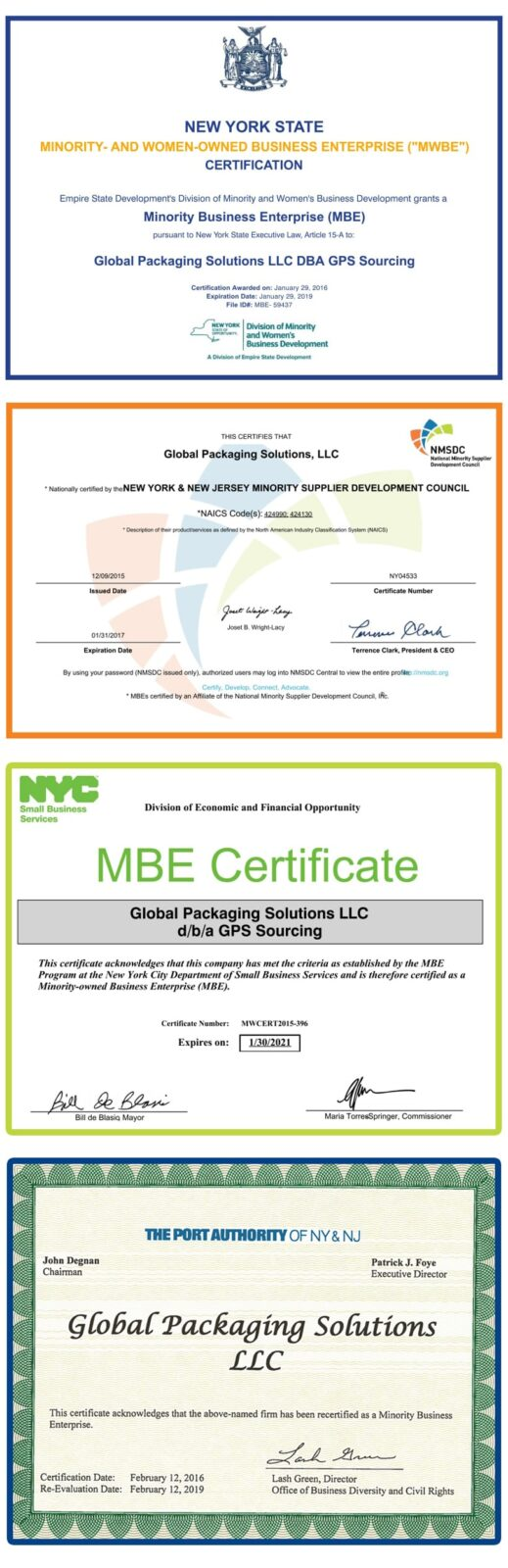 New York and New Jersey Minority Supplier Development Council Certificates